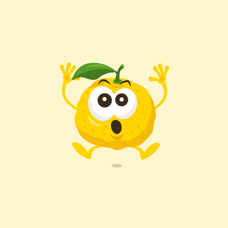 Illustration of a cute yuzu scared mascot isolated on a light background. Flat design style for your mascot branding. Standard-Bild - 111719481