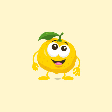 Illustration of a cute surprised yuzu mascot with big smile isolated on light background. Flat design style for your mascot branding.
