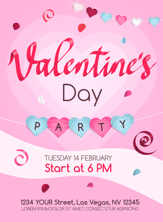 Happy Valentines Day poster invitation template with hearts and rose petals. Paper cut style. Easy to use for your website or invitation card.
