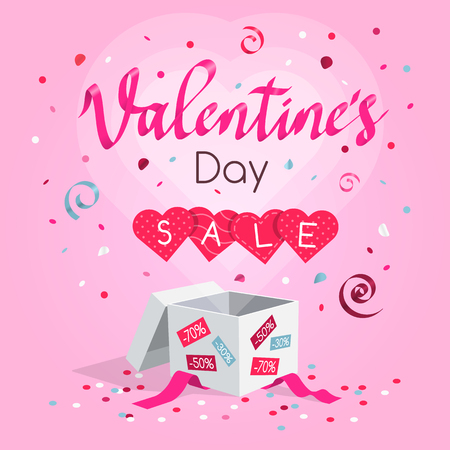 Special Valentine's Day sale symbol with gift, flying hearts, confetti and rose petals. Easy to use for your design with transparent shadows.