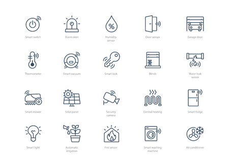 Set of smart home icons isolated on light background. Contains such icons Smart lock, Thermometer, Garage door, Air conditioner, Smart vacuum cleaner and more. Vector Illustration