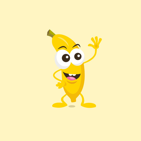 Illustration of a cute happy banana mascot greeting someone with big smile isolated on light background. Flat design style for your mascot branding.