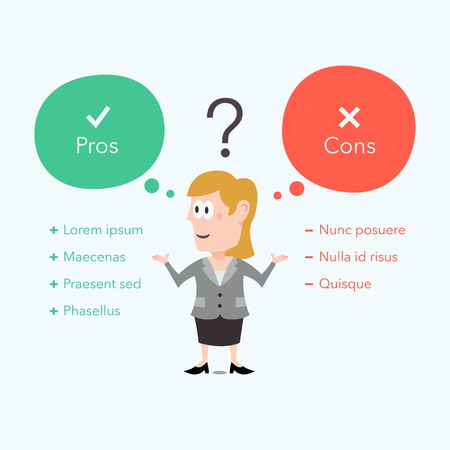 Businesswoman thinks about pros and cons. Easy to use for your website or presentation with place for your content.