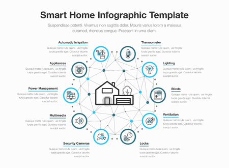 Simple vector infographic for smart home with icons and place for your content, isolated on light background.