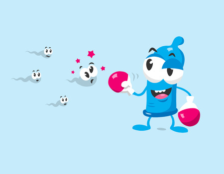Funny condom mascot with boxing gloves protects against sperm. Flat design isolated on white background. Stock Illustratie