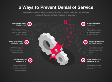 Simple Vector infographic for 6 way to prevent denial of service with broken gears as a main symbol - dark version. Easy to use for your website or presentation.