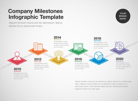 Einfache Infografik für eine Unternehmensmeilensteinzeitleiste mit bunten Rauten- und Liniensymbolen einzeln auf hellem Hintergrund. Einfach für Ihre Website oder Präsentation zu verwenden.
