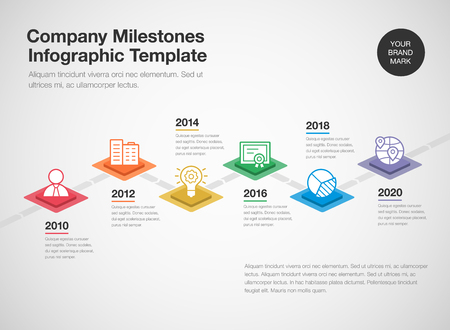 Simple infographic for a company milestones timeline template with colorful rhombus and line icons isolated on light background. Easy to use for your website or presentation.