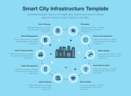 Simple vector infographic for smart city infrastructure with icons and place for your content, isolated on blue background. Иллюстрация
