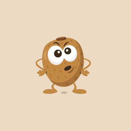 Illustration of cute angry kiwi mascot isolated on light background. Flat design style for your mascot branding.