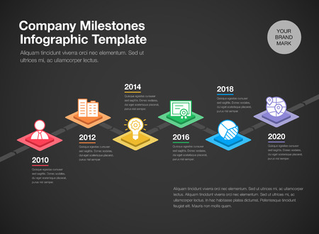 Simple infograph for timeline template with colorful rhombus and line icons isolated on dark background. Easy to use for your website or presentation.