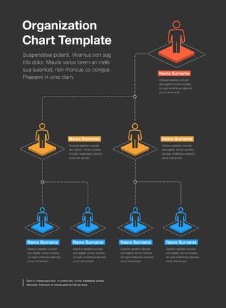 Prosty szablon schematu hierarchii organizacji firmy z miejscem na Twoje treści - wersja ciemna. Łatwy w użyciu na swojej stronie internetowej lub prezentacji.