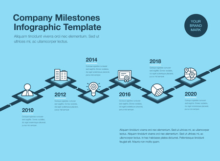 Simple infograph for timbre template with 3d rhombus and line icons isolated on blue background. Easy to use for your website or presentation.