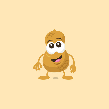 Illustration of cute surprised peanut mascot with big smile isolated on light background. Flat design style for your mascot branding.
