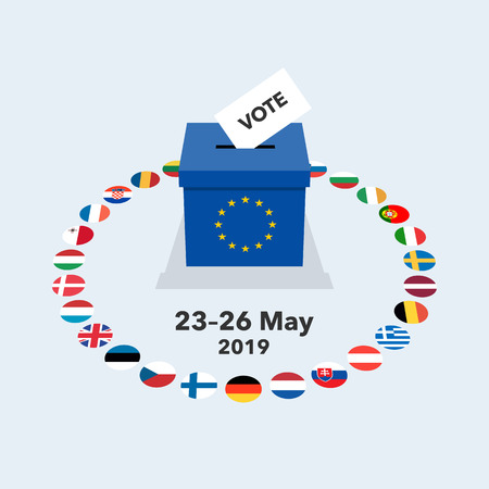 European elections 2019 illustration with voting paper in ballot box and national flags. Flat design, easy to use for your website or presentation. Illustration