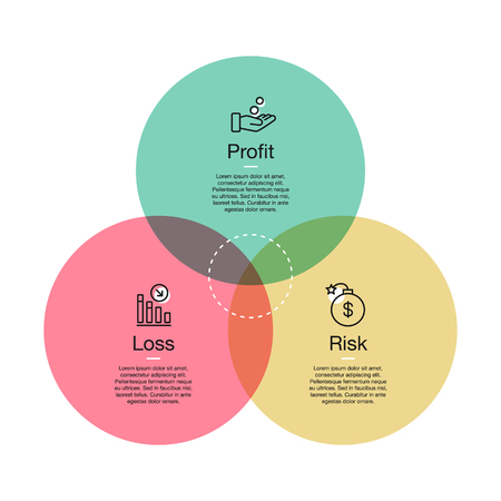 Simple visualization for profit, risk and loss icons with white accent. Easy to use for your design or presentation.