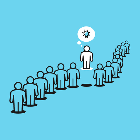 Think differently metaphor with people in queue and one person outside the queue. Flat design, easy to use for your website or presentation.