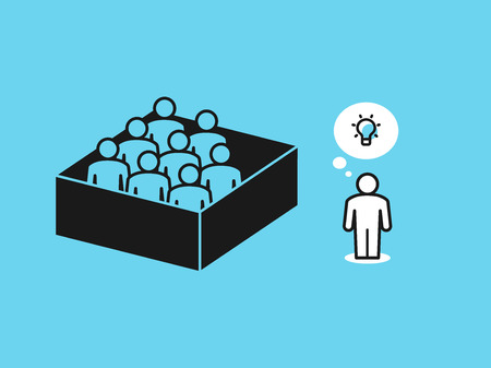 Thinking out of the box metaphor with people in the box and one person outside the box. Flat design, easy to use for your website or presentation.