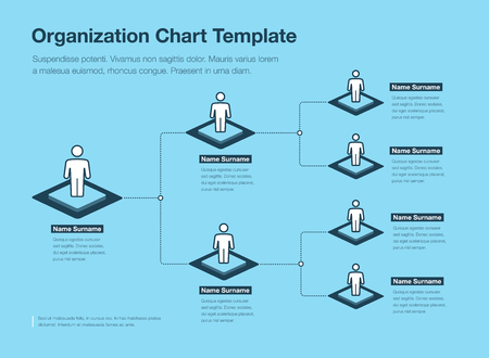 Company organization Hierarchy chart template with place for your content - Blue version. Easy to use for your website or presentation. Ilustração