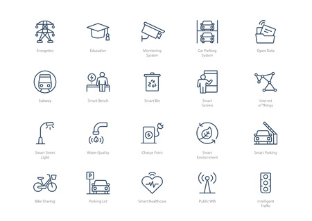 Set of line smart city icons isolated on light background. Contains such icons Energy, Education, Charge point, Internet of Things, Car parking system and more.