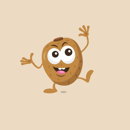 Illustration of cute happy kiwi mascot with big smile isolated on light background. Flat design style for your mascot branding. Ilustrace