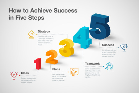 Simple vector infographic for how to achieve success in five steps with colorful 3d numbers and icons. Easy to use for your website or presentation. Stock Illustratie