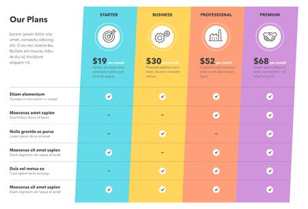Tabla de comparación de precios moderna con cuatro planes de suscripción y lugar para la descripción. Plantilla de diseño de infografía plana para sitio web o presentación.