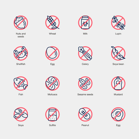 Set of allergens line icons isolated on light background. Contains such icons as fish, egg, nuts, milk, sesame and more.