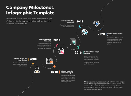 Business infographic for company milestones timeline template with dashed path and colored line icons - dark version. Easy to use for your website or presentation.  イラスト・ベクター素材