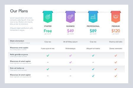 Nowoczesna tabela porównawcza cen z czterema planami abonamentowymi i miejscem na opis. Płaski plansza szablon projektu na stronie internetowej lub prezentacji.