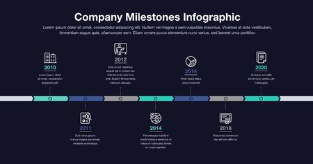 Business infographic for company milestones timeline template with line icons - dark version. Easy to use for your website or presentation.