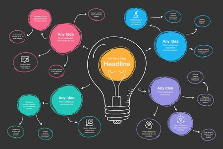 Hand drawn infographic for mind map visualization template with light bulb as main symbol, colorful circles and icons - dark version. Easy to use for your design or presentation. Vectores