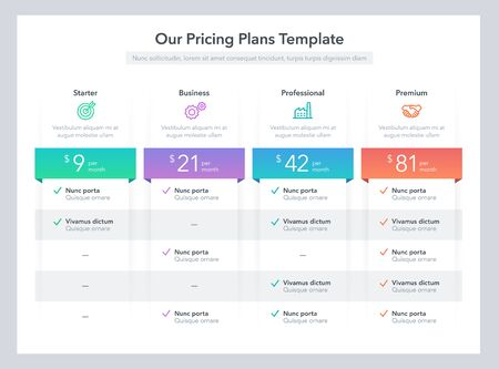 Modern pricing comparison table with various subscription plans. Flat infographic design template for website or presentation.