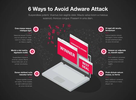 Simple infographic for 6 ways to avoid adware attack template, isolated on dark background. Easy to use for your website or presentation.