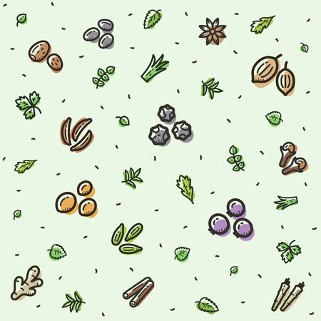 Spices pattern isolated on light background. Fits perfectly for print or any healthy food background.