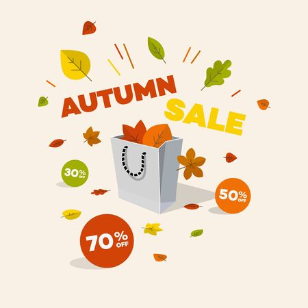 Special offer autumn discount symbol with shopping bag, discount labels and colorful leaves. Easy to use for your design with transparent shadows.  イラスト・ベクター素材