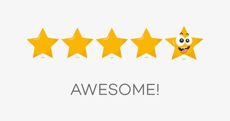Five stars awesome rating symbol. Funny illustration - easy to use for your website or presentation.  イラスト・ベクター素材