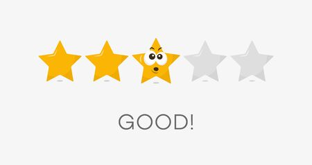Three stars good rating symbol. Funny illustration - easy to use for your website or presentation.  イラスト・ベクター素材