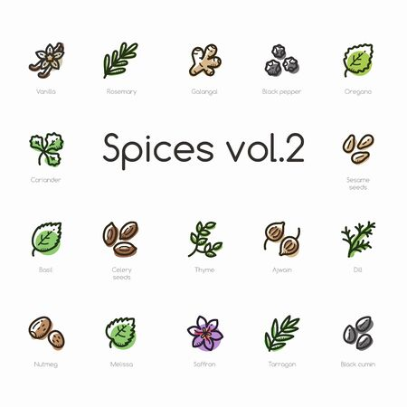 Spices line icons isolated on light background. Contains such icons as vanilla, thyme, black pepper, saffron, oregano and sea.