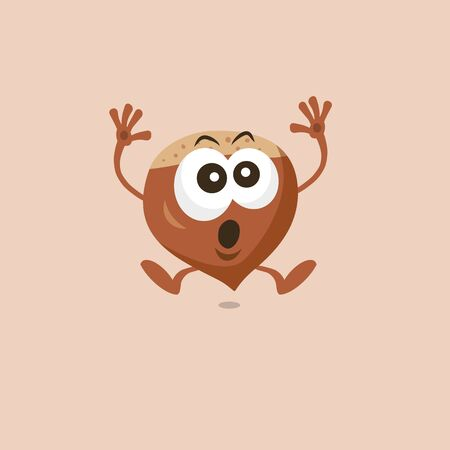 Illustration of a cute hazelnut scared mascot isolated on a light background. Flat design style for your mascot branding.