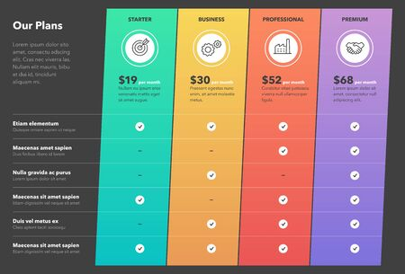 Modern pricing comparison table with four subscription plans and place for description - dark version. Flat infographic design template for website or presentation.