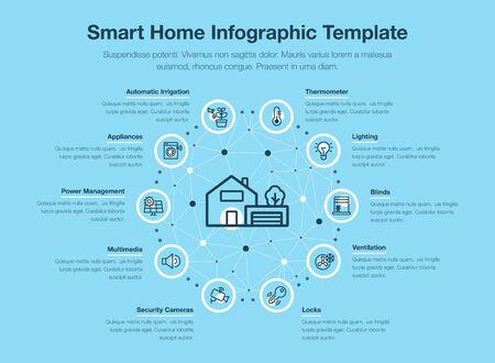 Infografía de vector simple para casa inteligente con iconos y lugar para su contenido, aislado sobre fondo azul.