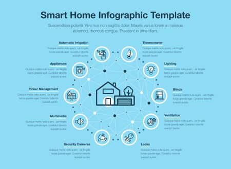 Simple vector infographic for smart home with icons and place for your content, isolated on blue background.