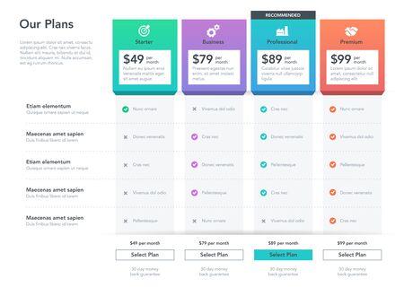 Tabla de comparación de precios moderna con descripción para aplicaciones y servicios web de negocios comerciales. Fácil de usar para su sitio web o presentación. Ilustración de vector