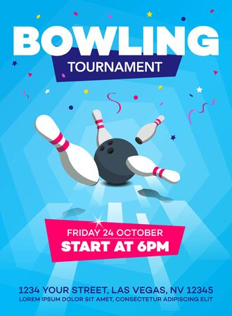 Modern bowling tournament poster template with scattered skittles and bowling ball - blue version.