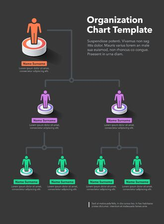 Modern simple company hierarchy chart template with place for your content - dark version. Easy to use for your website or presentation. Иллюстрация