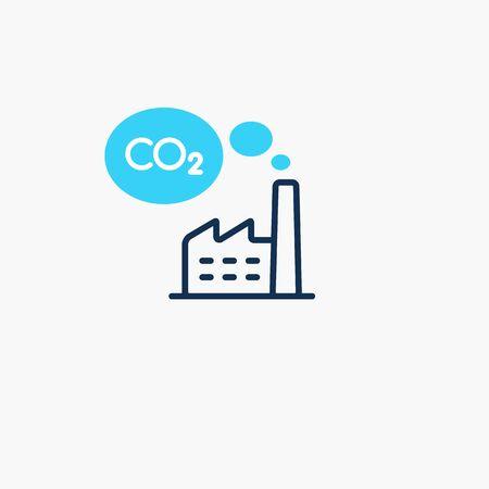 Electricity CO2 carbon dioxide emission symbol. Flat symbol isolated on light background.
