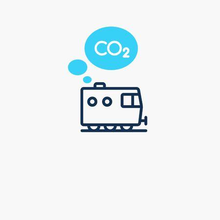 Trains CO2 carbon dioxide emission symbol. Flat symbol isolated on light background.