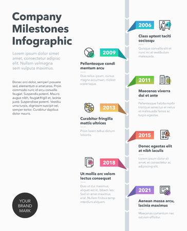 Timeline business infographic template with line icons. Easy to use for your website or presentation. Ilustração Vetorial