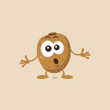 Cute Kiwi Mascot Isolated on White Background. Flat design style for your mascot branding.